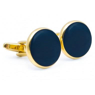 Spinki smokingowe - złote z granatowym oczkiem H82 N101