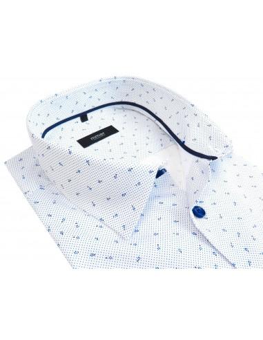 Biała koszula w drobny wzór - kropki, kwiaty 121