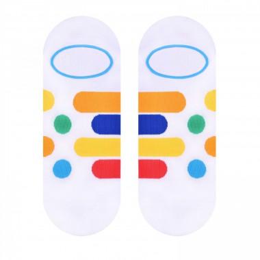 Białe skarpety stopki w paski i kropki SK164