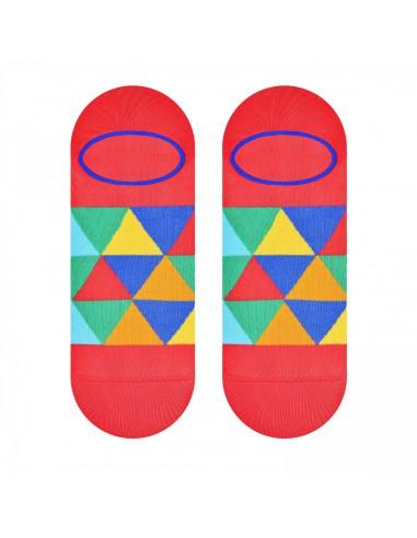 Malinowe skarpety stopki w kolorowe trójkąty SK165