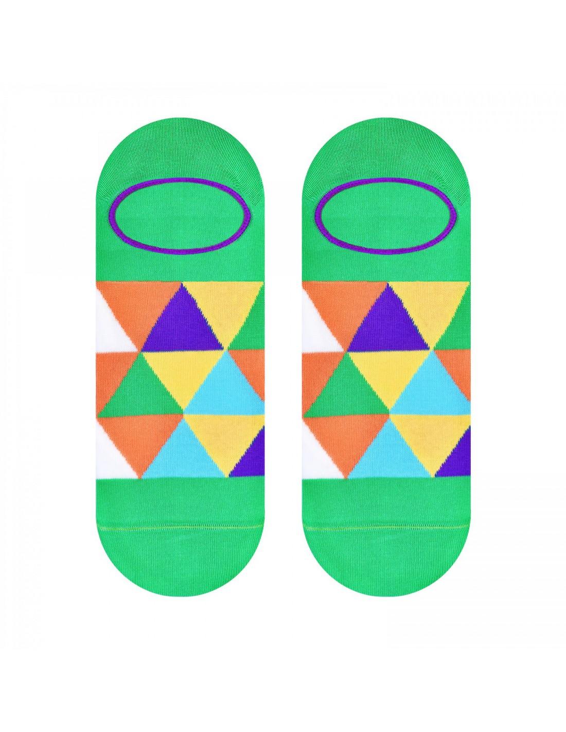 f0886f32025742 Zielone skarpety stopki w kolorowe trójkąty SK167 | Sklep ...