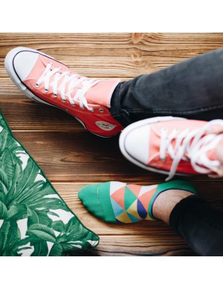 Zielone skarpety stopki w kolorowe trójkąty SK167