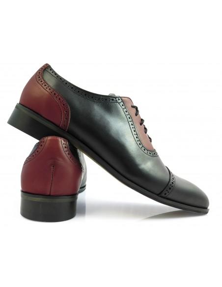 Czarno-bordowe obuwie męskie - spektatory, caponki T124