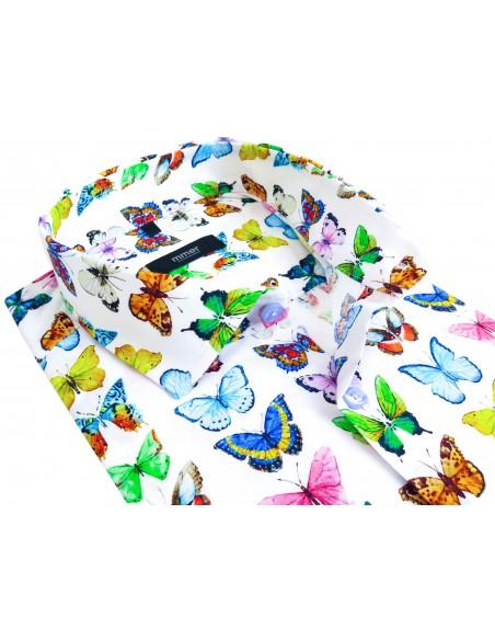 Biała koszula w kolorowe motyle 914
