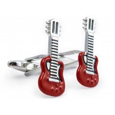 Czerwono-srebrne spinki do mankietów - gitary