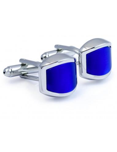 Zaokrąglone kobaltowe spinki do mankietów A166