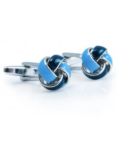 Spinki do mankietów - niebiesko-granatowe węzełki A168
