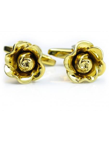 Złote spinki do mankietów - różyczki A171