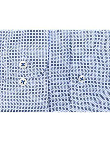 Biała koszula w niebieski wzór K74