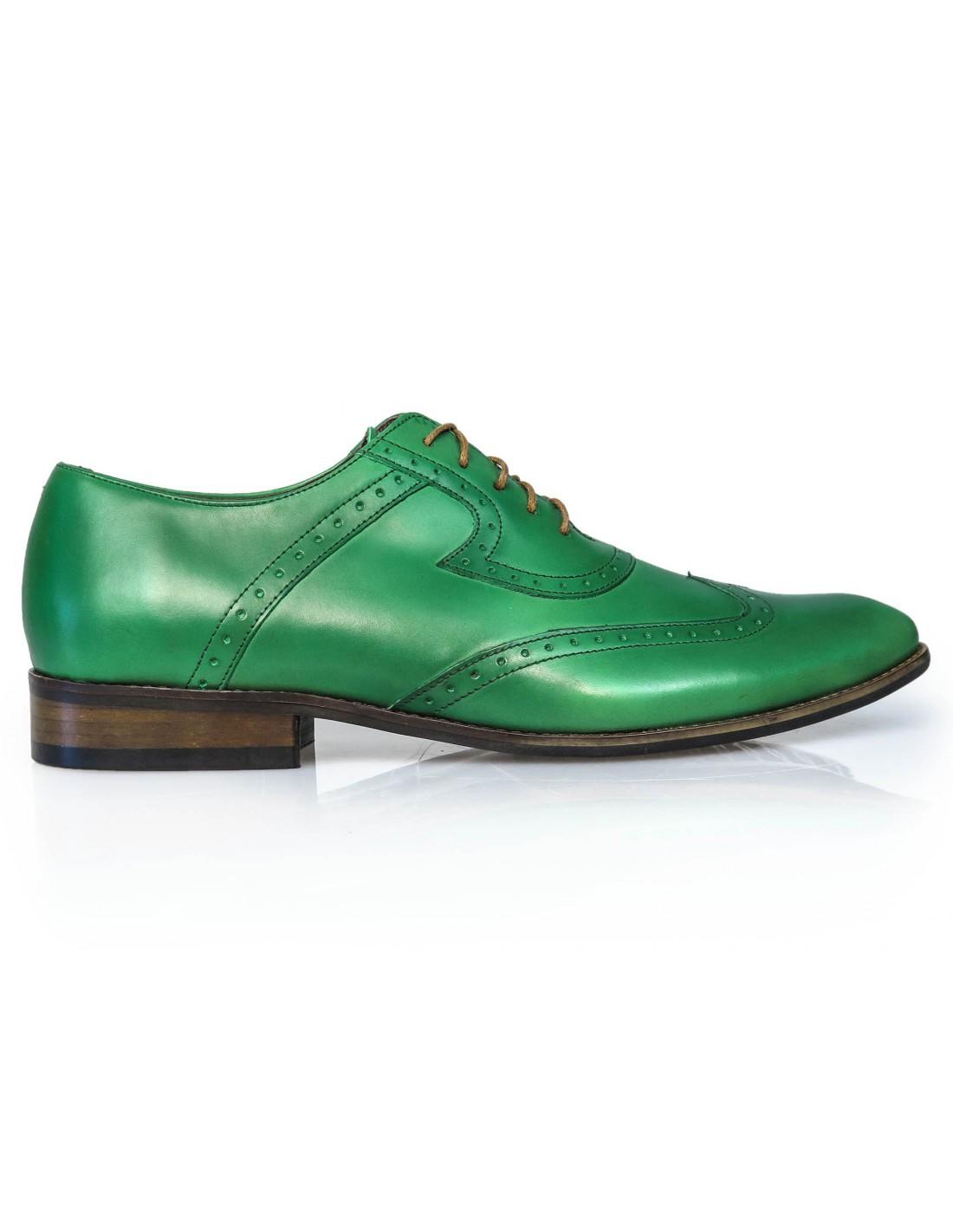 Zielone męskie buty wizytowe brogsy T27   Sklep