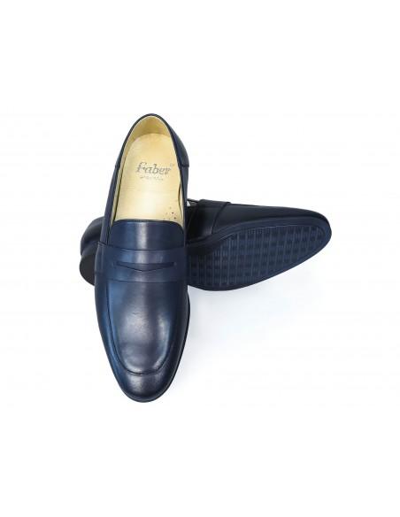 Granatowe wsuwane buty męskie - loafers T125