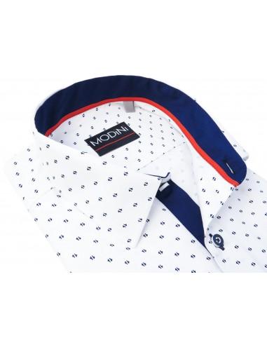 Koszula z długim rękawem z granatowym wzorem A25