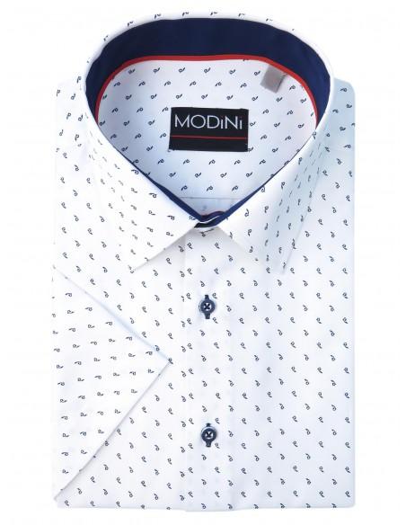 Biała koszula męska z krótkim rękawem z granatowym wzorem MK8