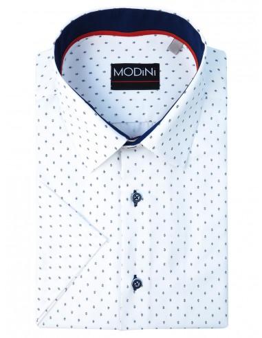 Biała koszula męska z krótkim rękawem z granatowym wzorem MK9