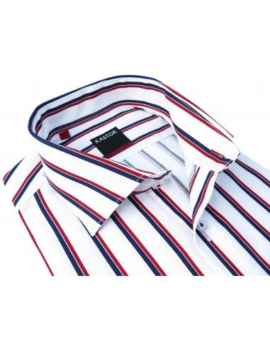 Biała koszula w granatowo-czerwone paski KASTOR K76