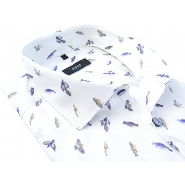 Biała koszula w ptaszki Mmer 367