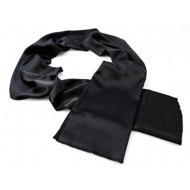 Czarny szal męski - jedwab 100% J20