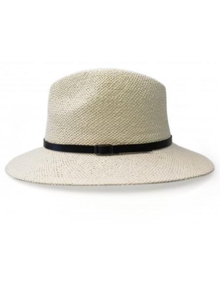 Jasny kapelusz słomkowy z czarnym paseczkiem G10