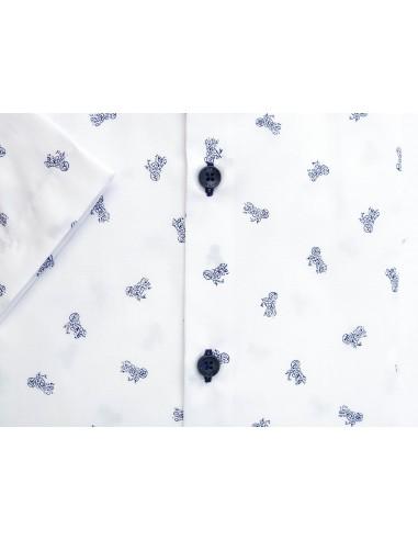 Biała koszula z krótkim rękawem w motocykle 358 Rozmiar  QawLF