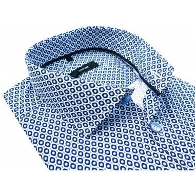 Biała koszula męska w niebiesko-granatowy wzór 944