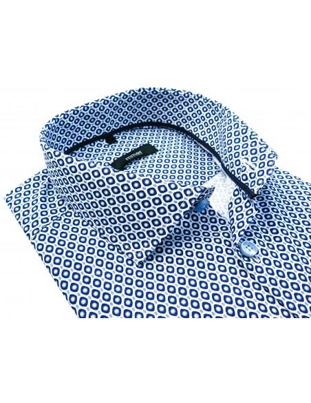 Biała koszula męska we wzór 944