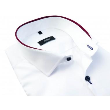 Biała koszula z bordową lamówką 883N