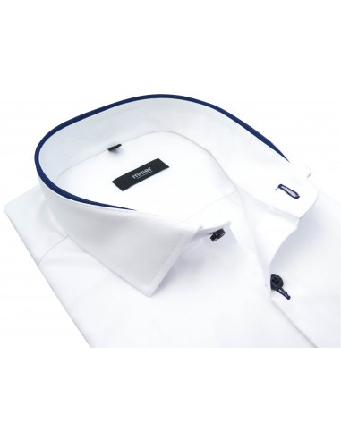 Biała koszula z długim rękawem - granatowe kontrasty 885