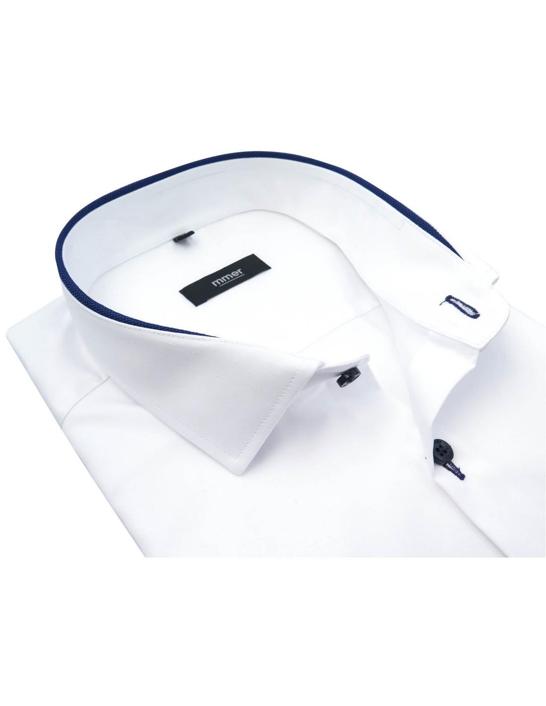 Biała koszula z długim rękawem granatowe kontrasty 885  0i7sw