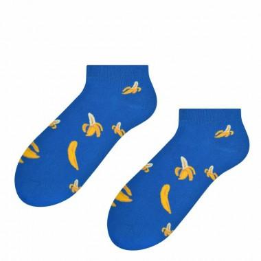 Niebieskie skarpety męskie w banany - stopki SK175