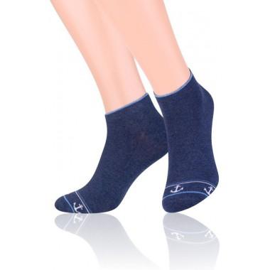 Jeansowe skarpety męskie z kotwicami - stopki SK177