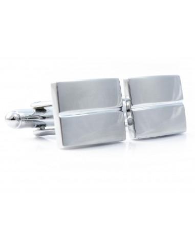 Prostokątne srebrne spinki do mankietów N131