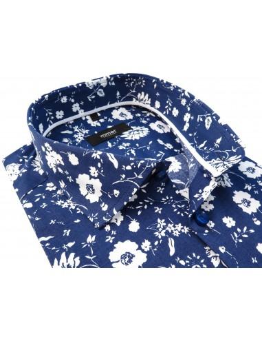 Niebieska koszula w białe kwiaty 929