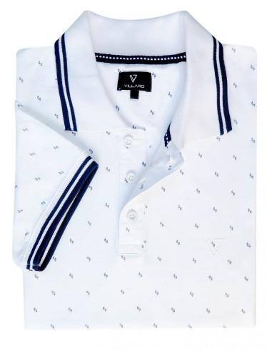 Męska koszulka polo - biała w kwiatki KP10