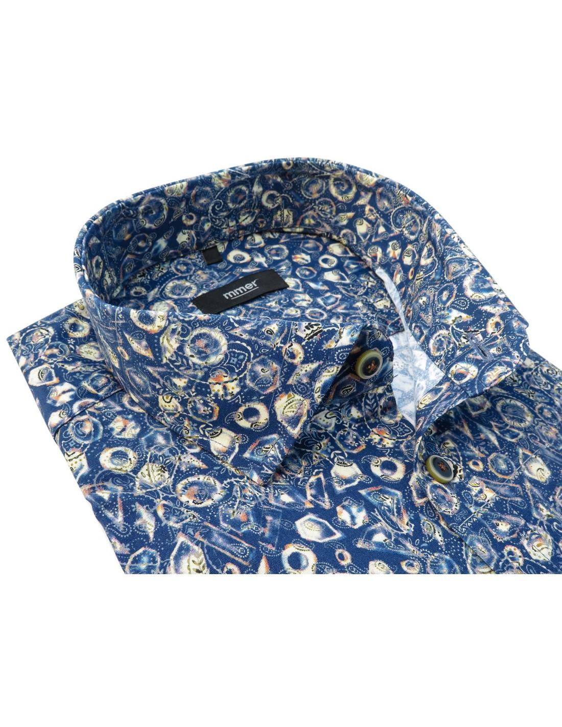 Niebieska koszula we wzór 757   Sklep Internetowy Modini.pl