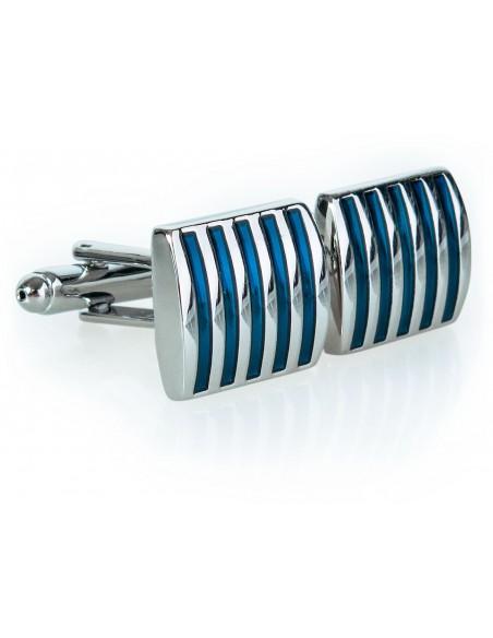 Prostokątne srebrno-niebieskie spinki do mankietów - U210