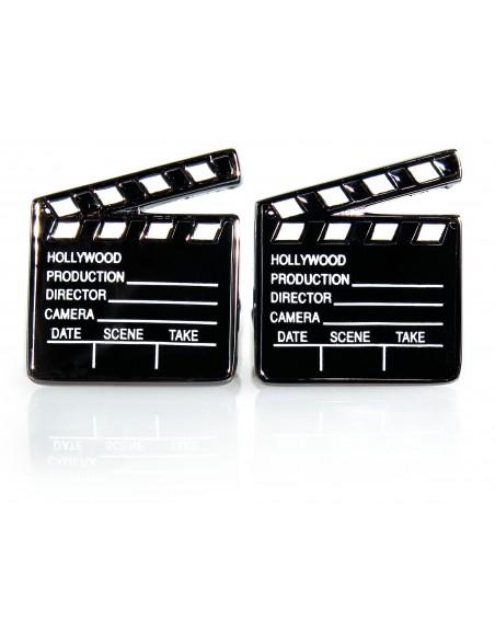 Grafitowo-czarne spinki do mankietów - klaps filmowy U12