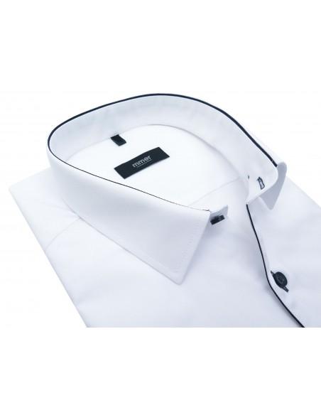 Biała koszula Mmer z granatową lamówką 328 Slim
