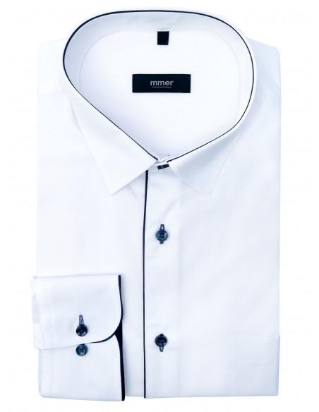 Biała koszula Mmer z granatową lamówką i kieszonką 328 DRB