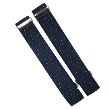 Granatowe w białe paski opaski do rękawów koszuli X4