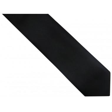Czarny gładki krawat z białą poszetką