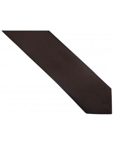 Brązowy / czekolady krawat męski z poszetką