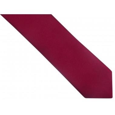 Bordowy gładki krawat z poszetką OZ17