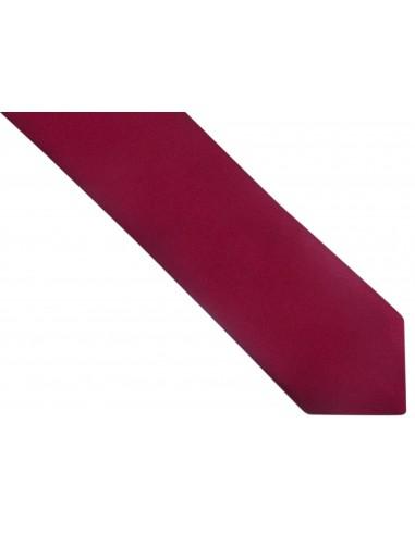 Bordowy gładki krawat z poszetką
