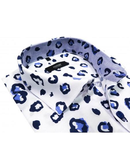 Koszula męska w granatowo-niebieskie plamy, cętki 830