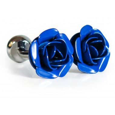 Spinki do mankietów -niebieskie różyczki U214