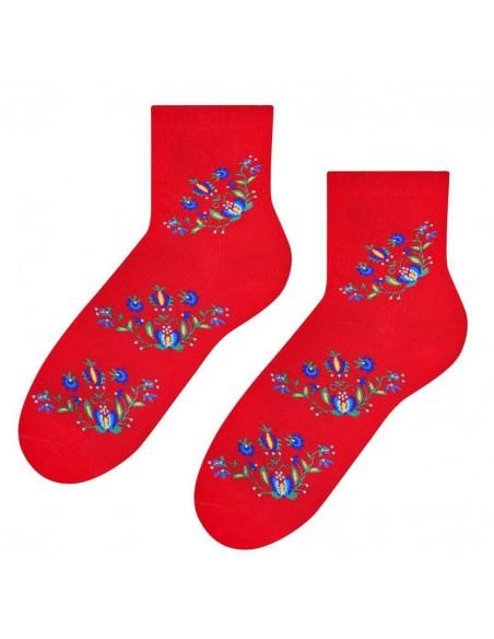 Czerwone folkowe damskie skarpetki - wzór kaszubski SK213