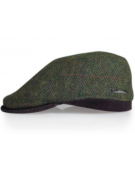 Oliwkowy kaszkiet/czapka męska w jodełkę G13