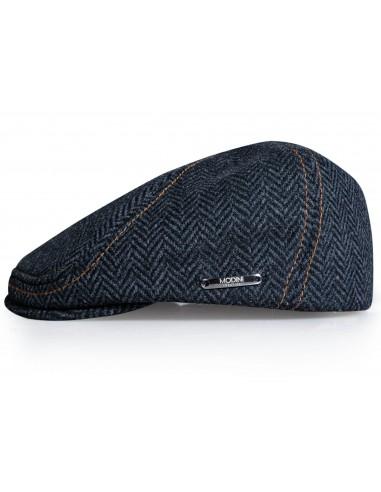 Granatowy kaszkiet/czapka męska w jodełkę G14