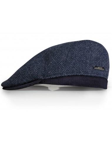 Granatowy kaszkiet/czapka męska w jodełkę G15