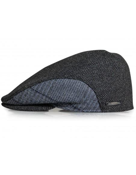 Szary kaszkiet/czapka w jodełkę z nausznikami G16